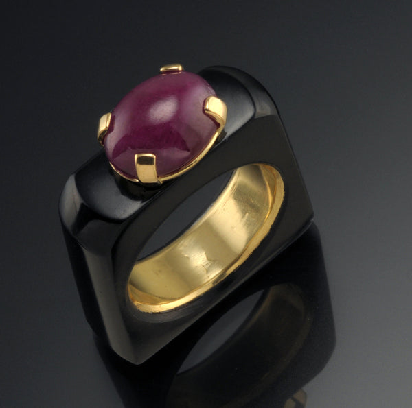 Black Jade and Ruby Ring