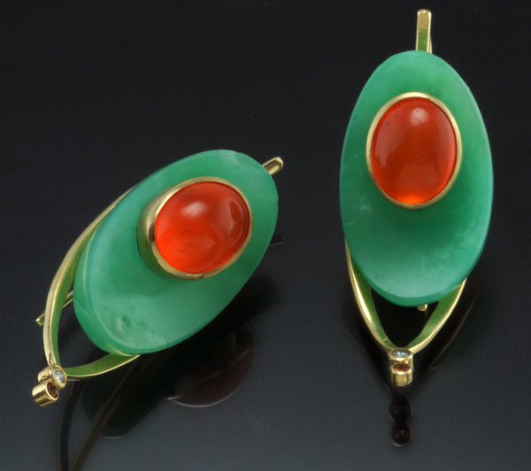 Chrysoprase Mexican Fire Opal Kinetic Earrings