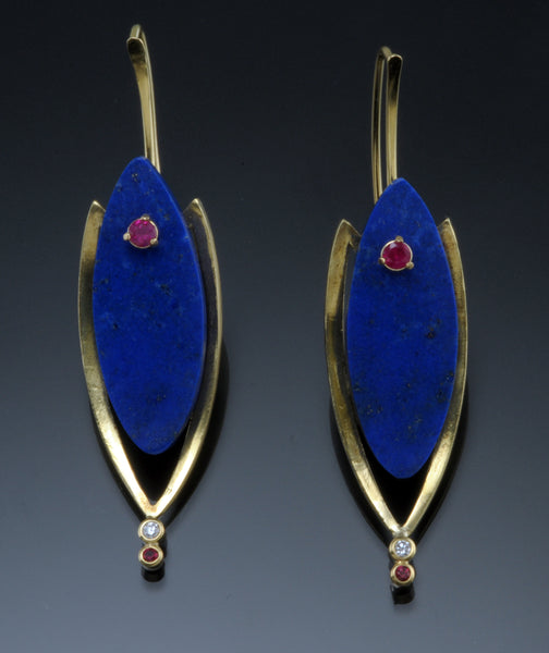 Lapis and Ruby Kinetic Earrings