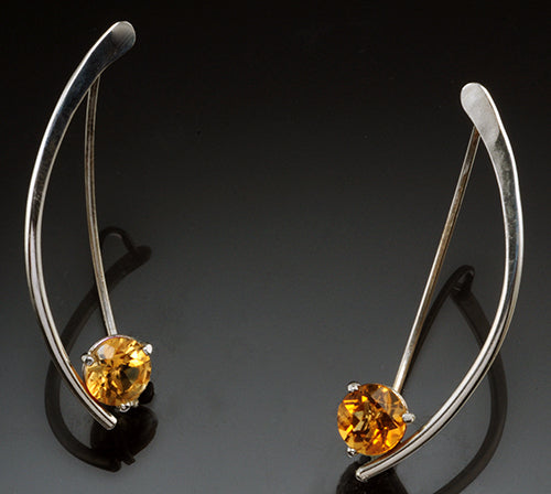 14K White Gold 6.5MM Round Citrine Wishbone Earrings with .06 CTTW Diamonds