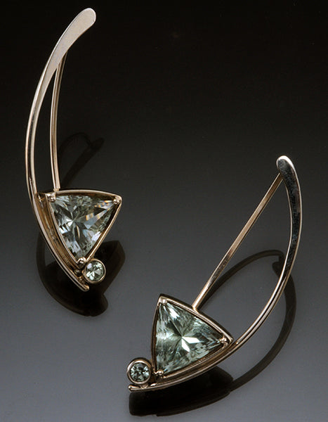 14K White Gold 11mm Triangle Green Amethyst Wishbone Earrings with 3mm Sapphires