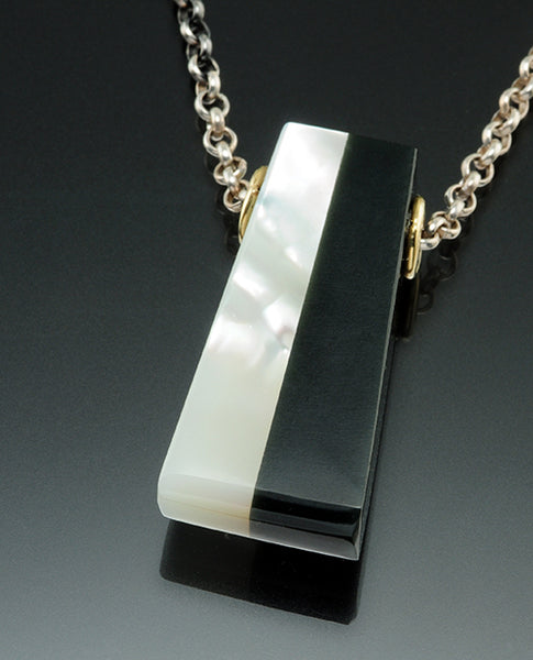 18K Yellow Gold and Sterling Silver Black Jade and Mother of Pearl Obelisk on Chain