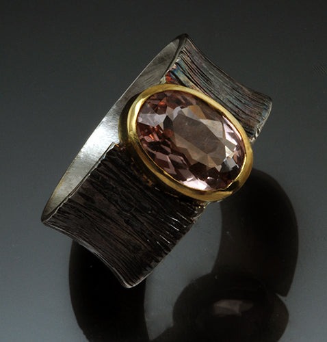 Oxidized Sterling Silver and Morganite Riga Ring