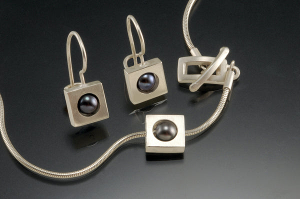 Square Sterling Silver  Black Pearl Earrings and Necklace