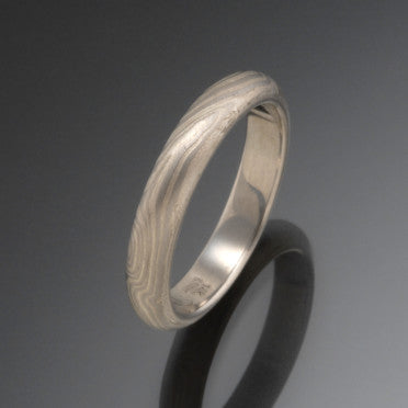 White Gold and Sterling Silver Mokume Gane Band