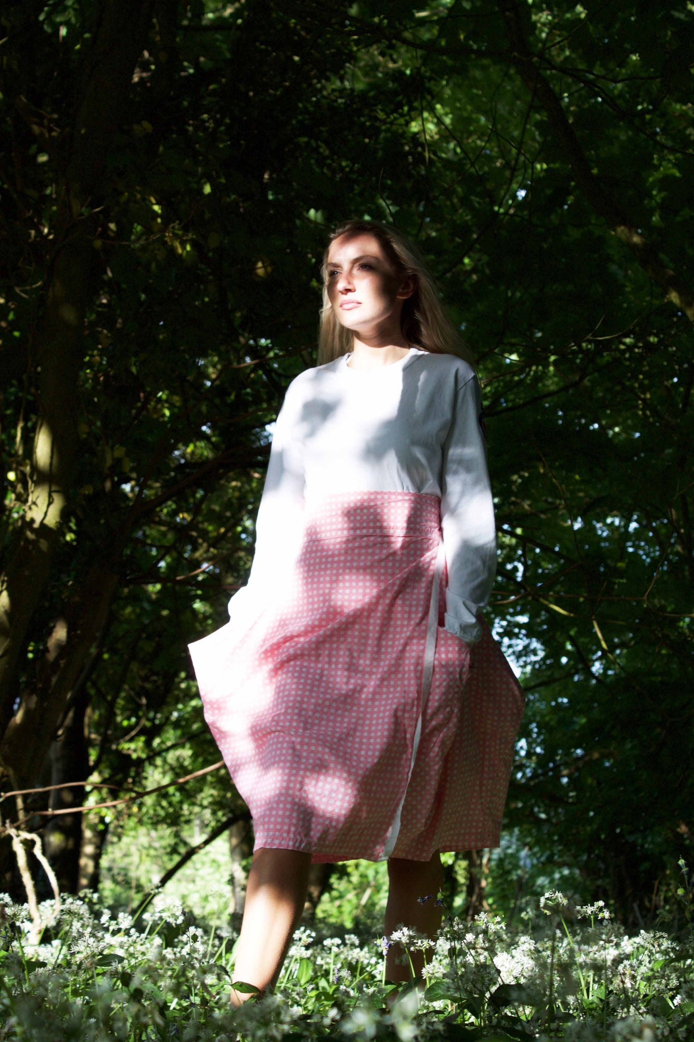 Wraparound Gingham Skirt