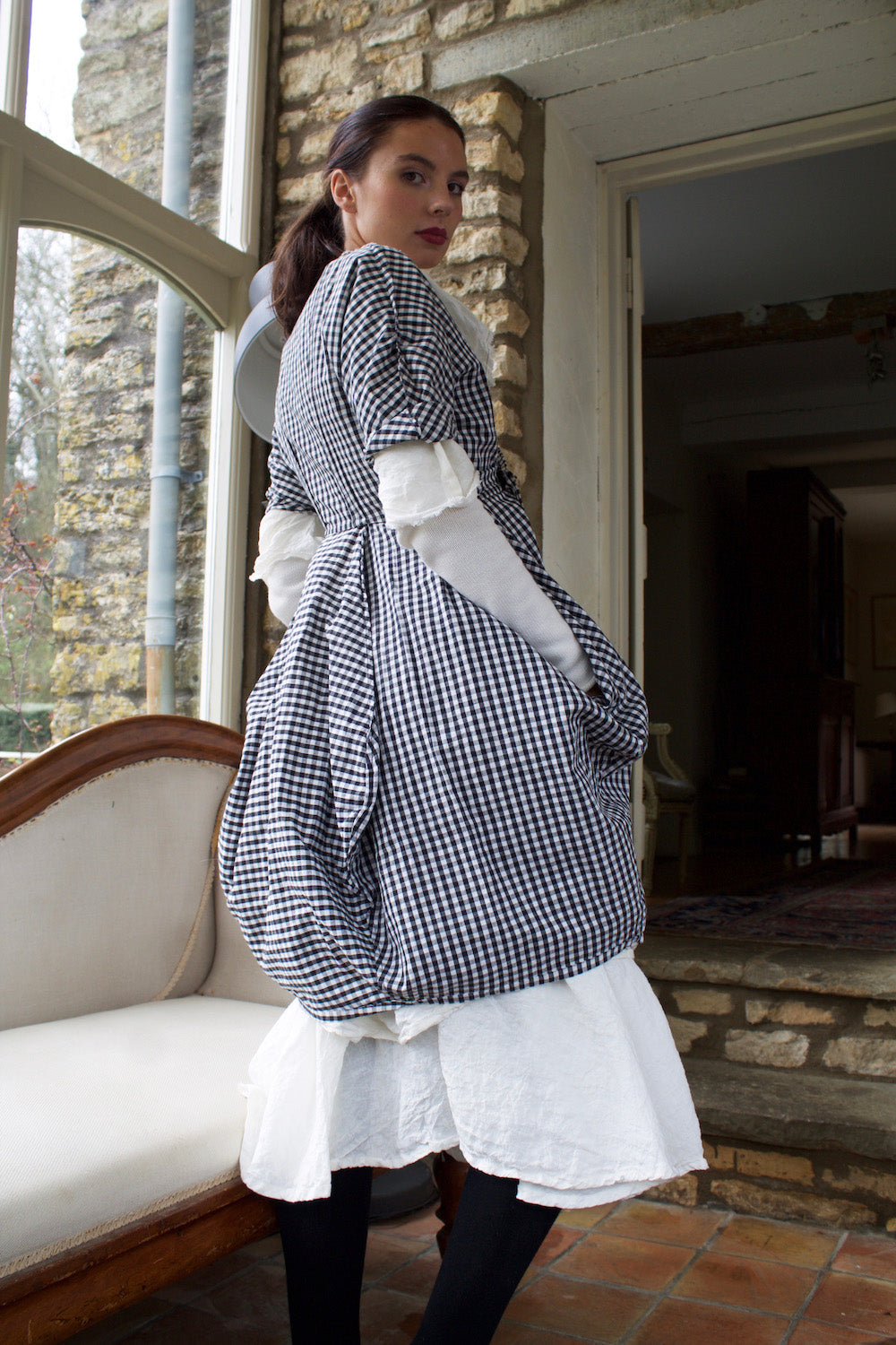Gingham Point Dress (Black)