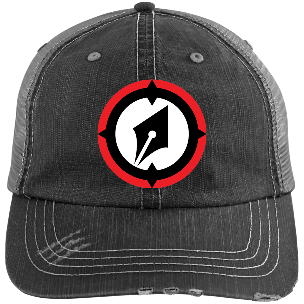 Embroidered Logo Distressed Unstructured Trucker Cap