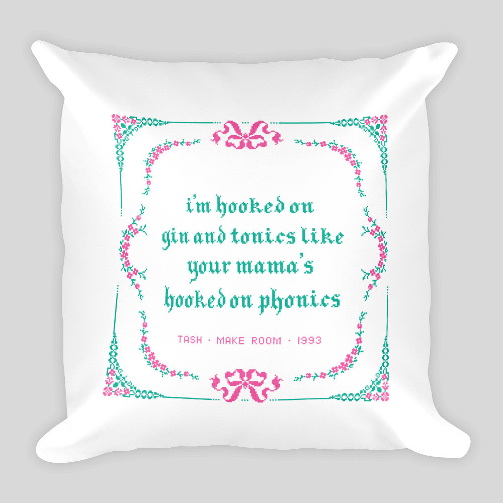 Gin & Tonic • Drunk Cross-Stitch Pillow