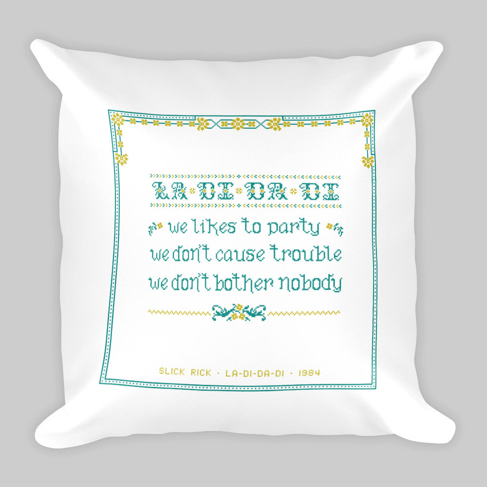 La-Di-Da-Di • Drunk Cross-Stitch Pillow