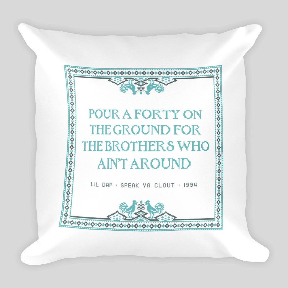Pour a 40 • Drunk Cross-Stitch Pillow