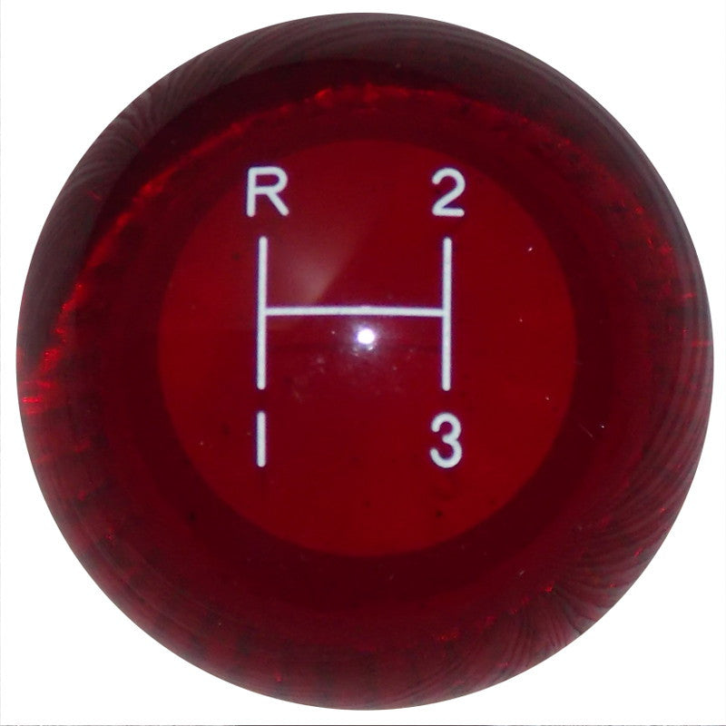 3 Speed Clear Red Shift Knob