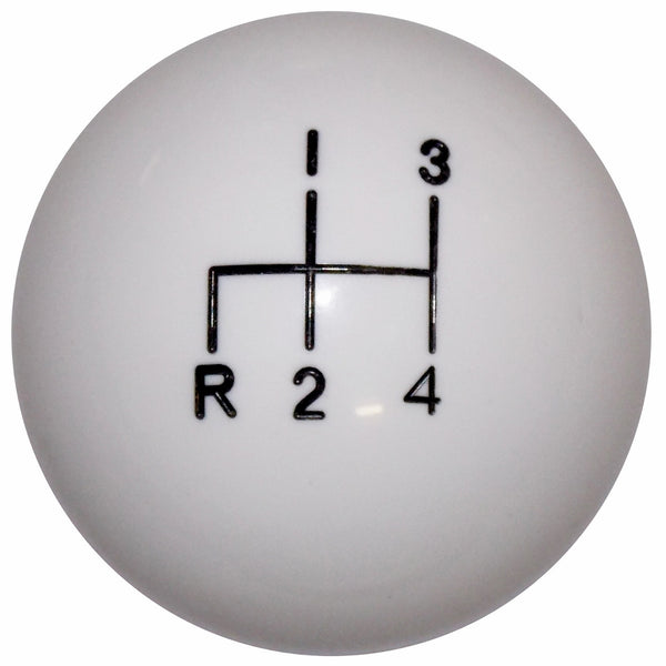 White 4 speed Reverse Down Left Shift Knob