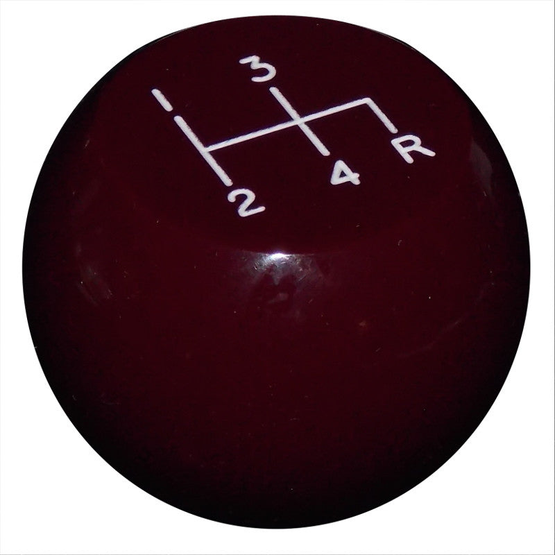 Flat Top 4 Speed Burgundy Shift Knob Reverse Down Right