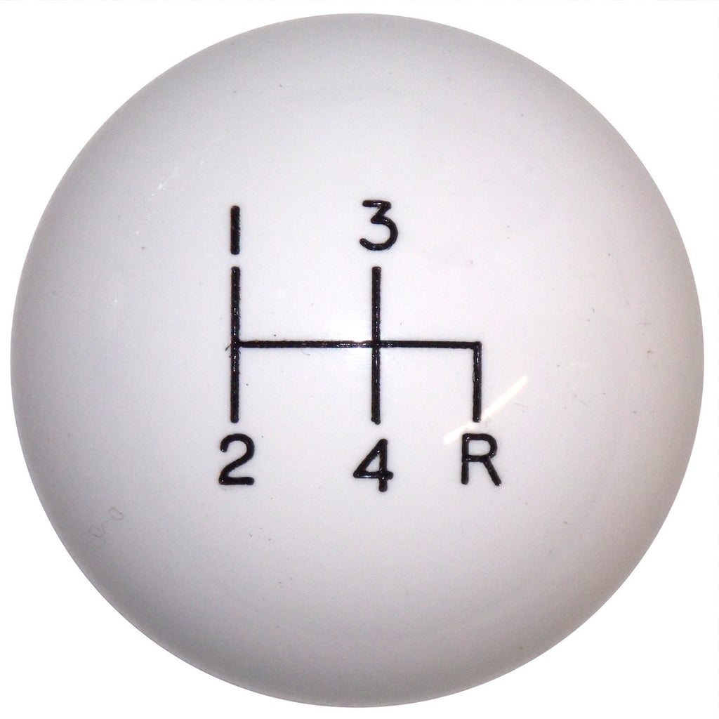 White 4 Speed Shift Knob Reverse Down Right