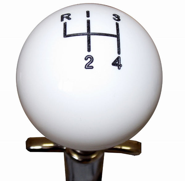 White Muncie 4 Speed Pattern Shift Knob