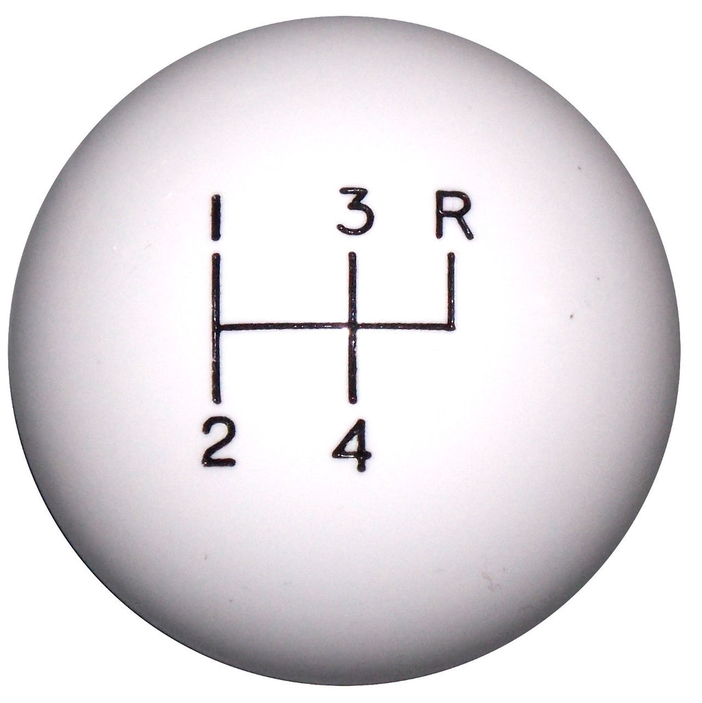 White 4 Speed Reverse Up Right Shift Knob