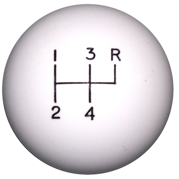 White 4 Spd Reverse Up Right Shift Knob