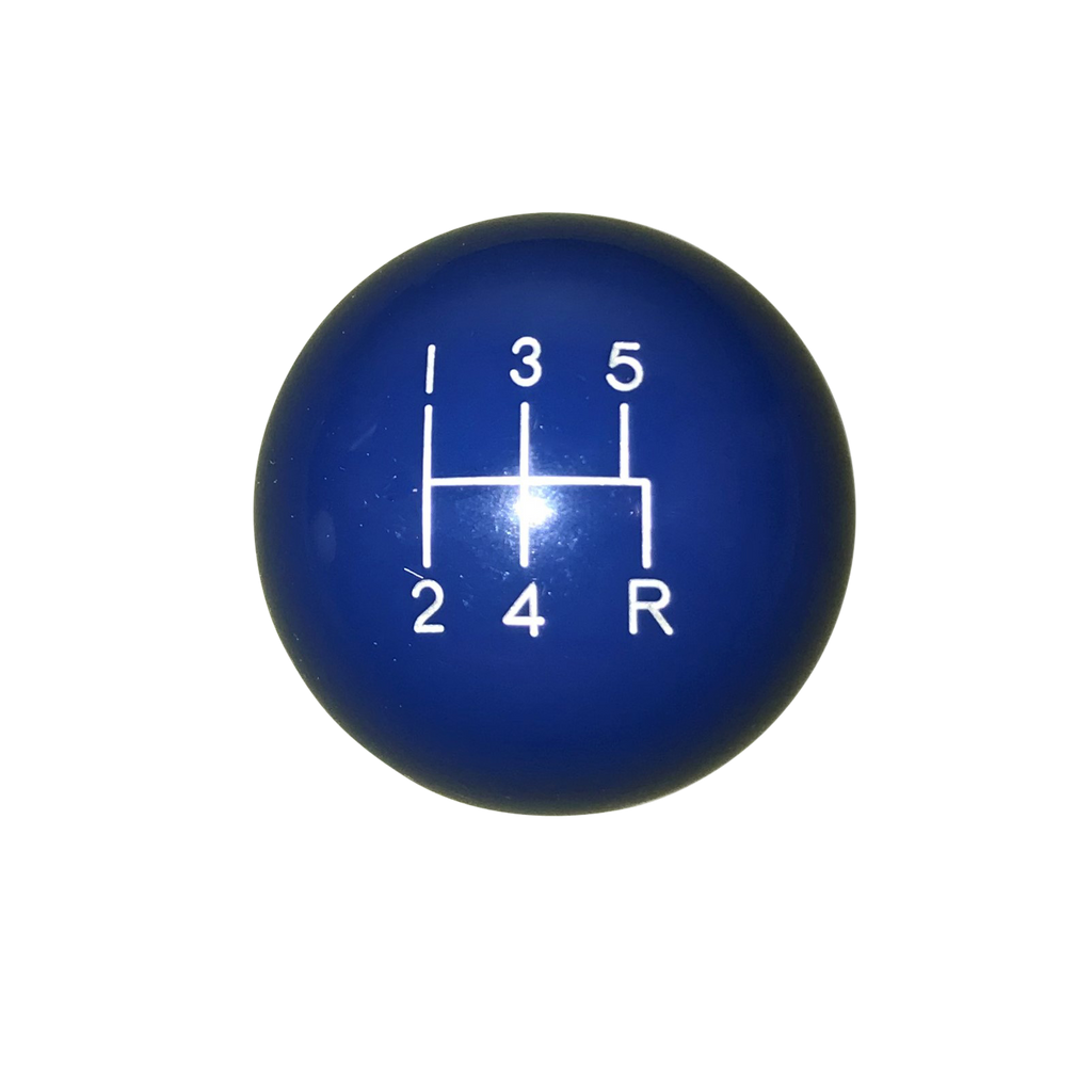 "image of 1-7/8"" Dark Blue 5 Speed Shift Knob Reverse Down Right Offset"