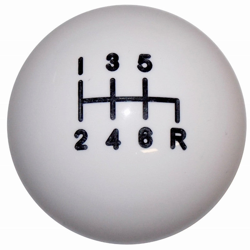 White C4 6 Speed Reverse Down Right Shift Knob