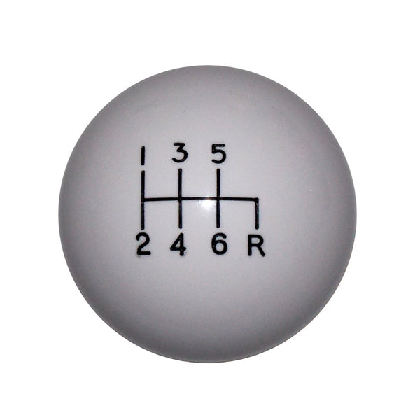 "1-7/8"" White C4 6 Speed Reverse Down Right Shift Knob"
