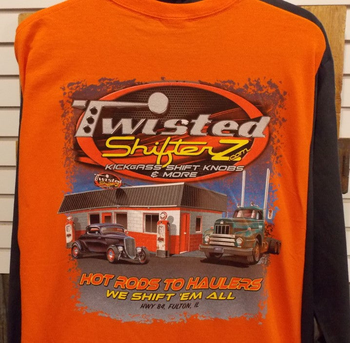 Twisted Shifterz Short Sleeve Shirts Vintage Gas Station Scene