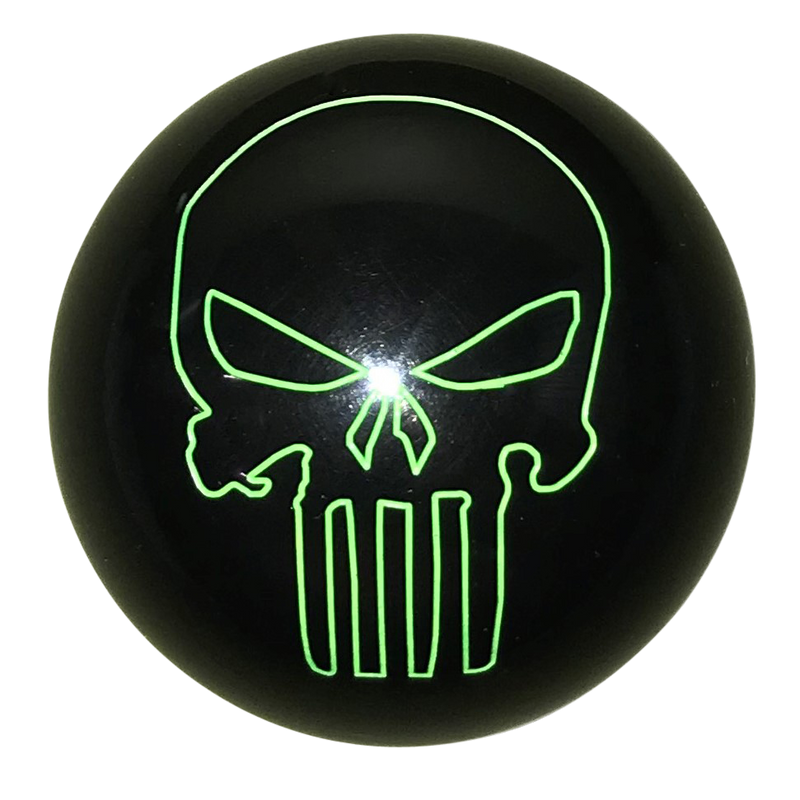 image of Black with Green Punisher Skull Shift Knob