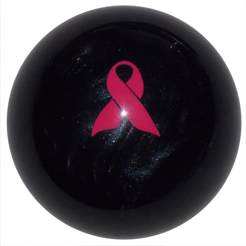 Pink Ribbon Awareness Pearl Black Brake Knob