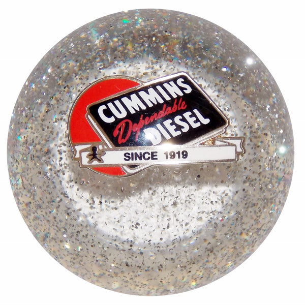 Cummins Dependable Diesel Logo Clear Glitter Shift Knob
