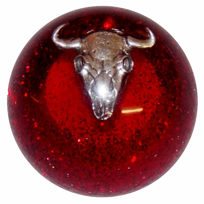 Red Glitter Cow Skull Shift Knob