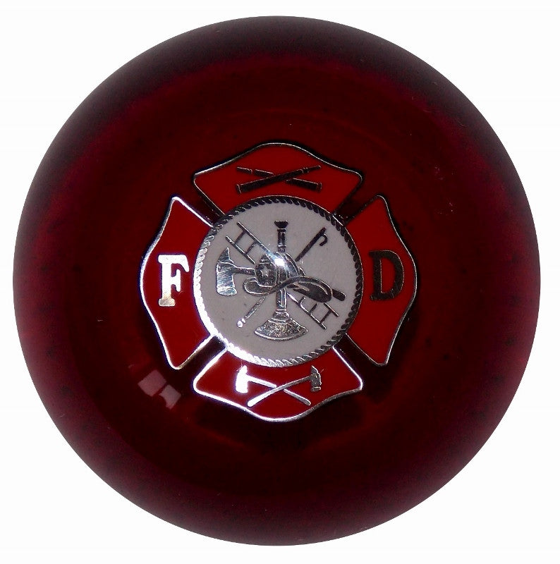 Clear Red Fire Department Logo Brake Knob