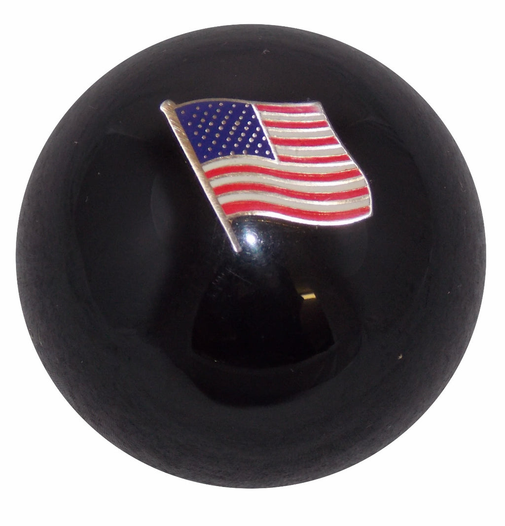 American Flag in Black Shift Knob