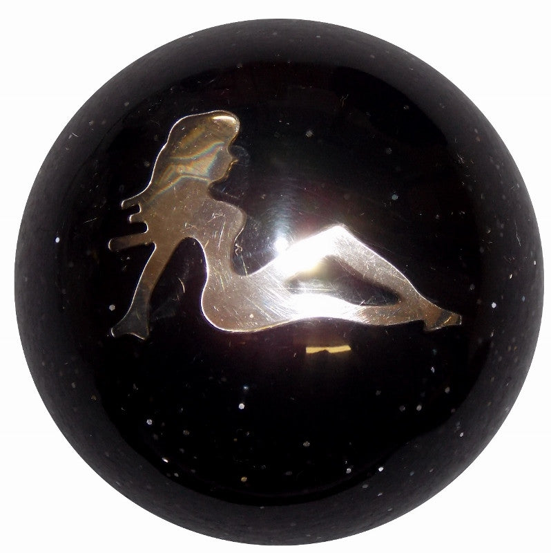 Chrome Lady in Black Glitter Brake Knob
