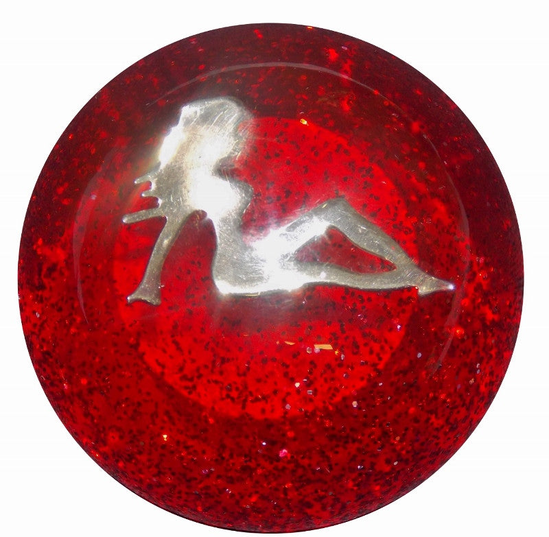 Chrome Lady in Red Glitter Shift Knob