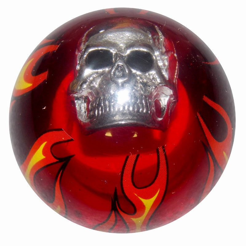 Clear Red Flamed Skull Brake Knob