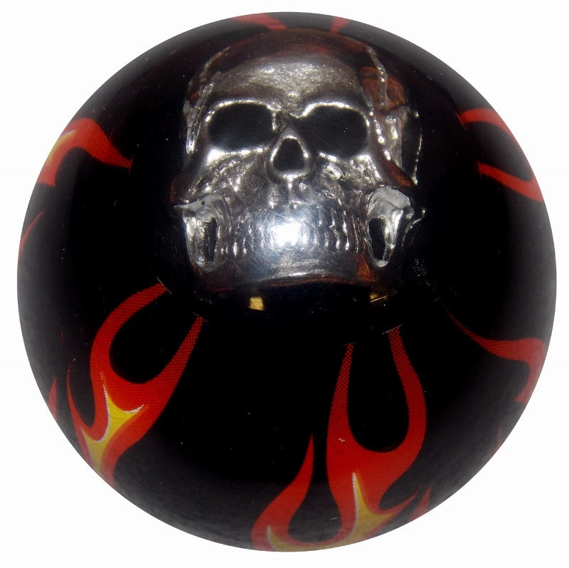 Black Flamed Skull Brake Knob