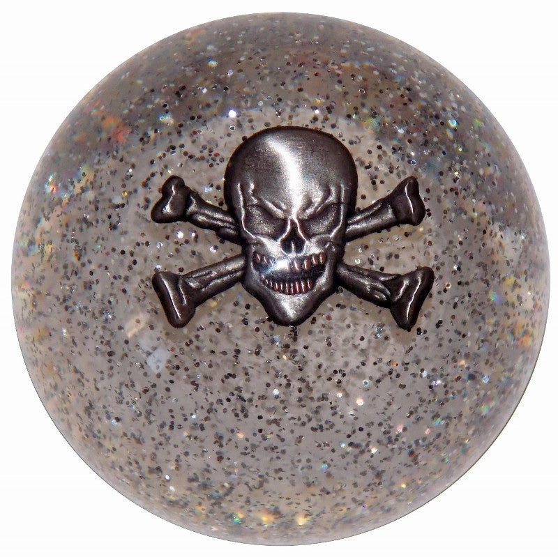 Skull and Crossbones Clear Glitter Shift Knob