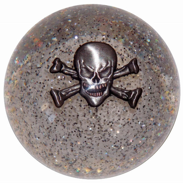 Skull and Crossbones Clear Glitter Brake Knob