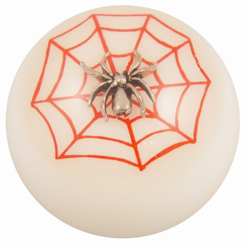 White w/ Red Spider Web Brake Knob