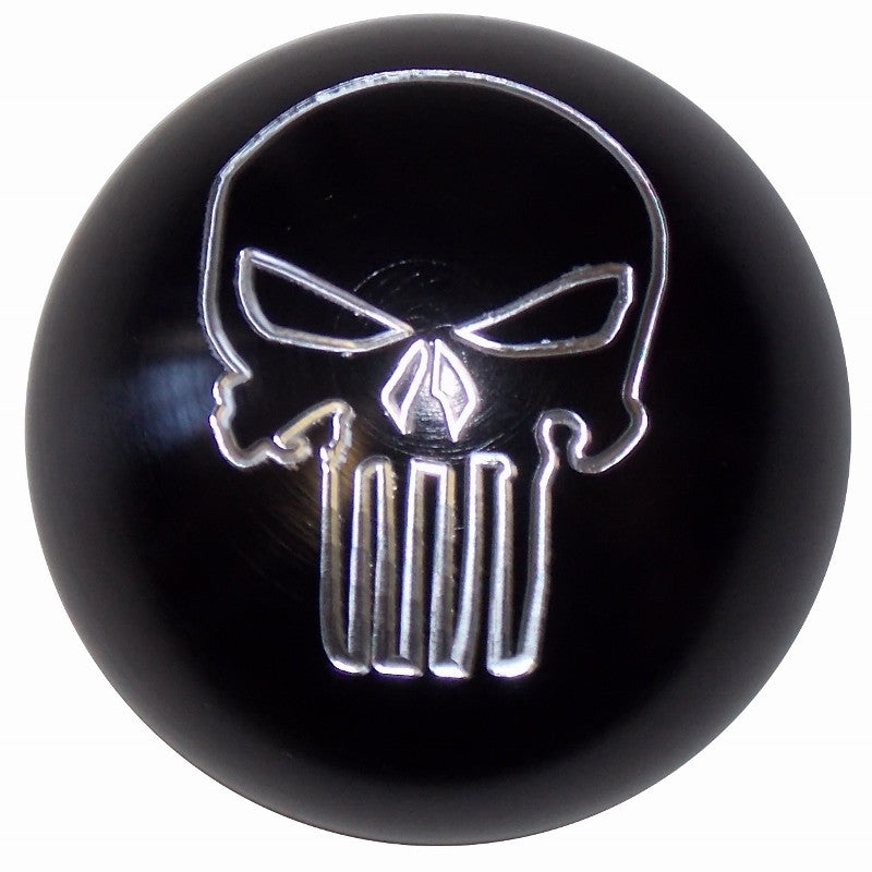 Punisher Skull Brushed Aluminum Black Shift Knob