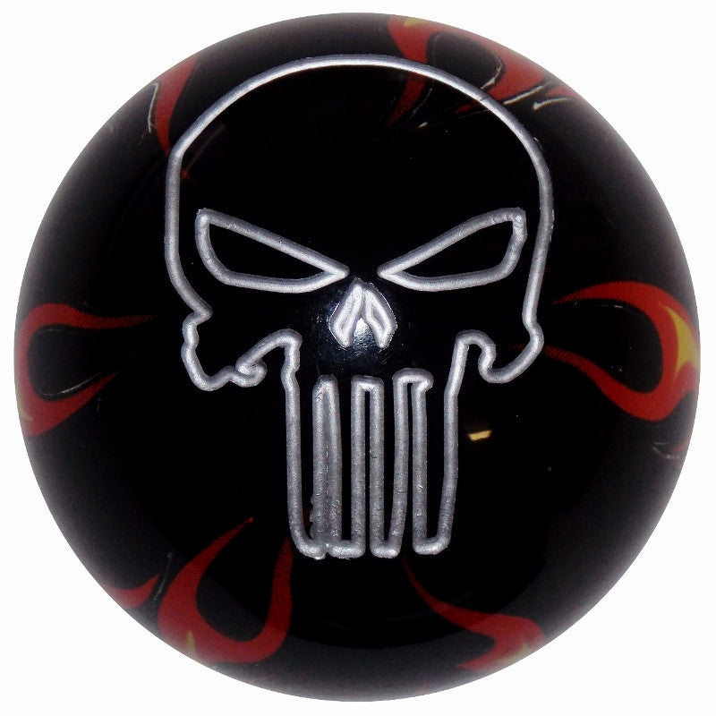 Black Flamed Punisher Skull Brake Knob
