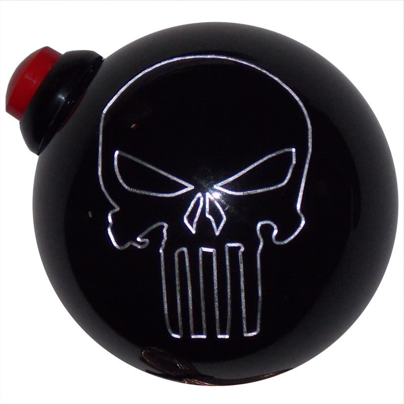 Black Punisher Skull Push Button Side Mount Corvette C4 C5 Shift Knob