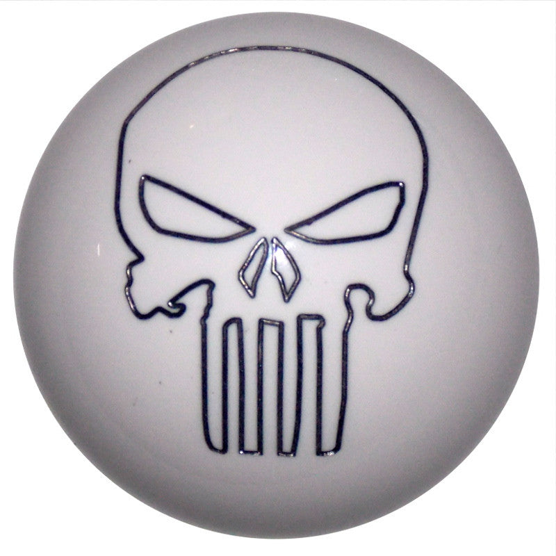 White Punisher Skull Brake Knob