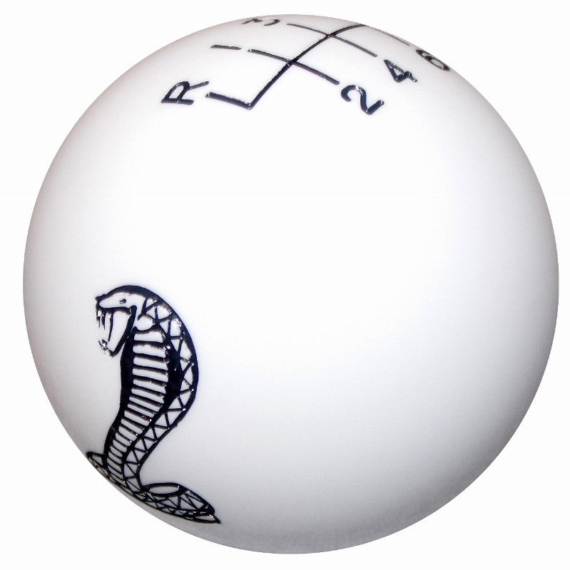 White Mustang Cobra Logo New 6 Speed Shift Knob