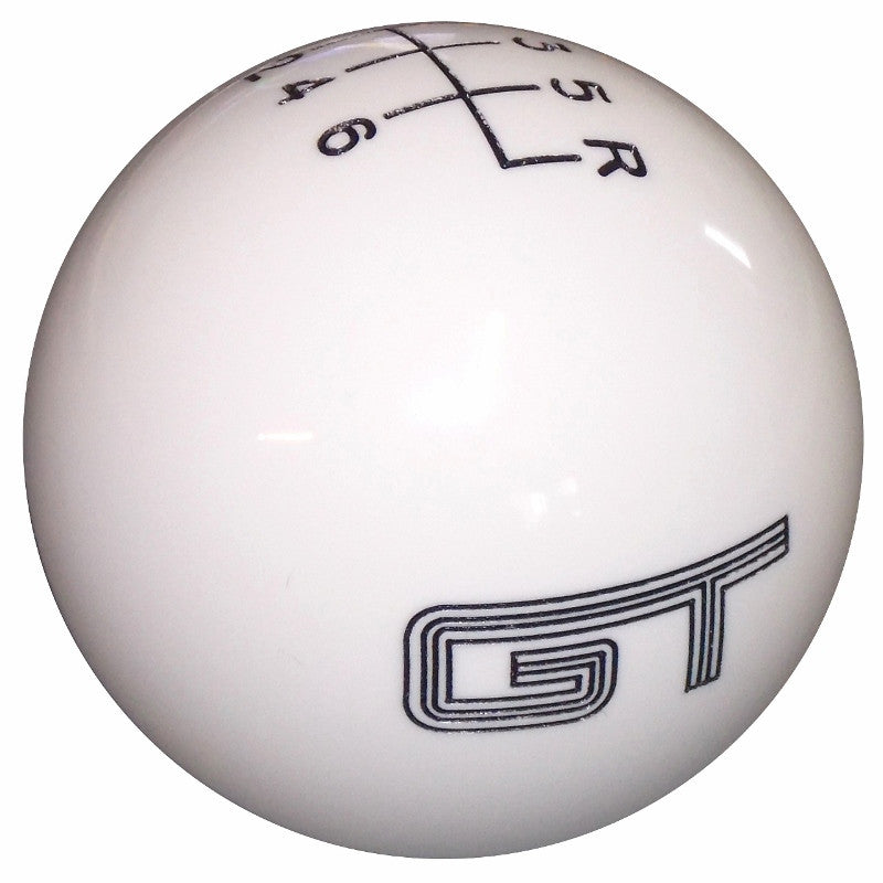 White Mustang GT Logo 6 Speed Shift Knob