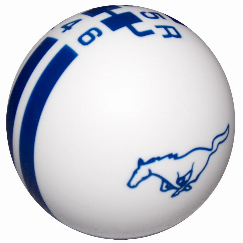 Ford Rally Mustang Pony Logo White/ Blue 6 Speed Shift Knob