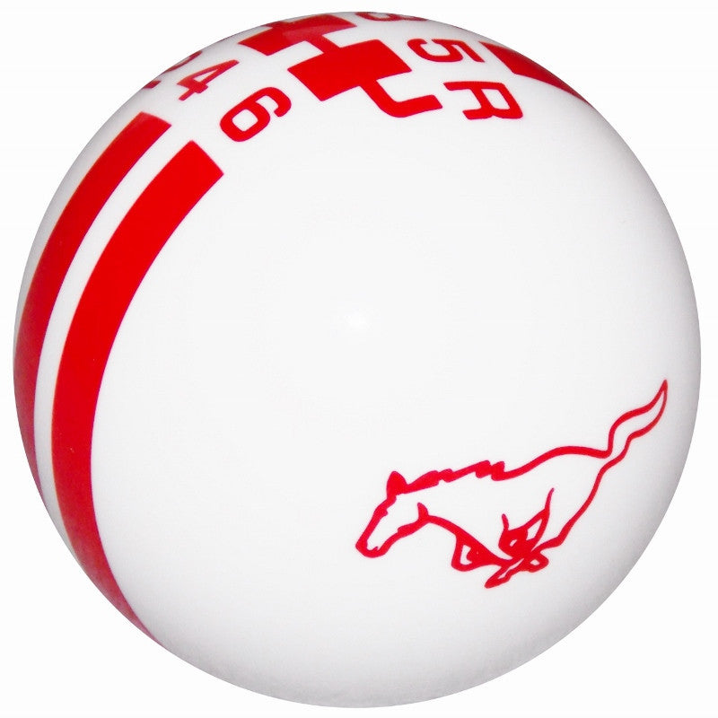 Ford Rally Mustang Pony Logo White/ Red 6 Speed Shift Knob