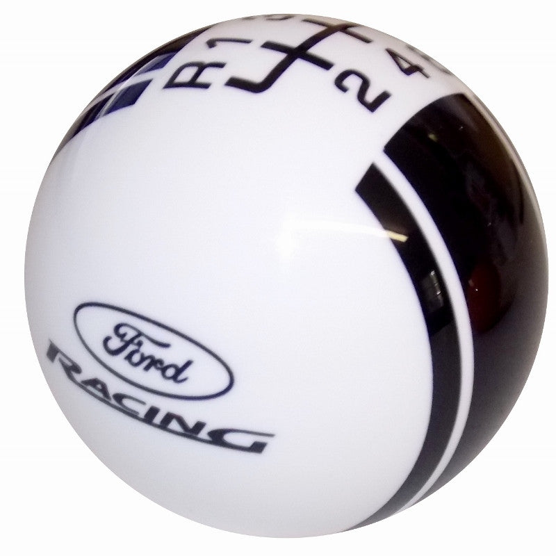 Ford Rally II Ford Racing Logo White/ Black New 6 Speed Shift Knob