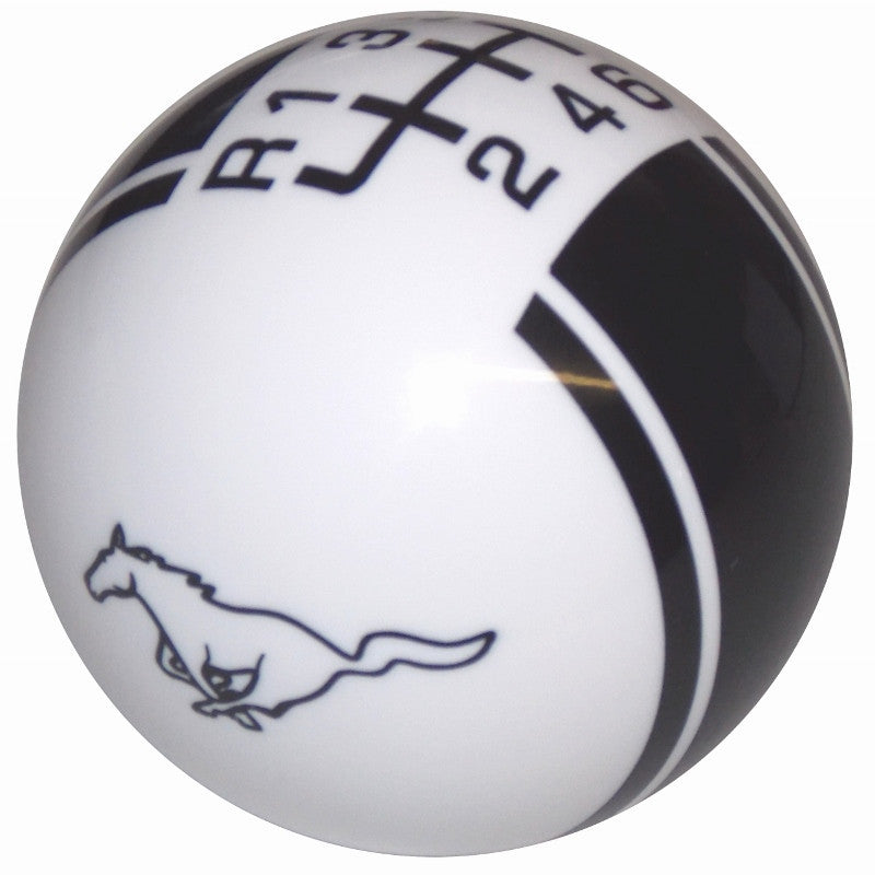 Ford Rally II Mustang Pony Logo White/ Black New 6 Speed Shift Knob