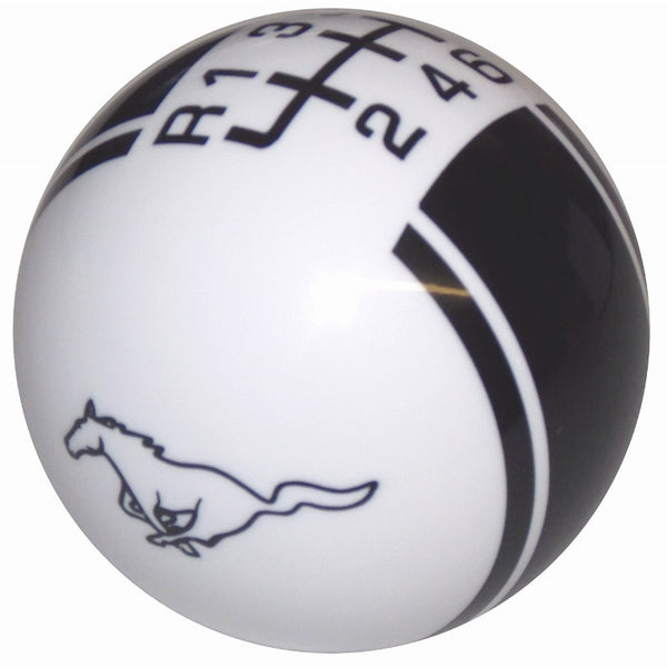 Ford Rally ll Mustang Pony Logo White/ Black New 6 Speed Shift Knob